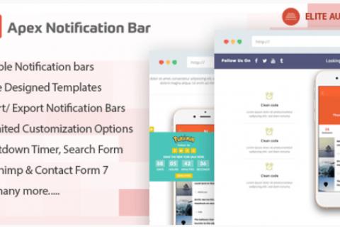 Apex Notification Bar v2.0.8  - 适用于WordPress的响应式通知栏插件