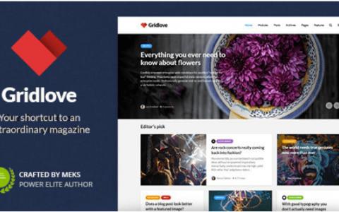 Gridlove v1.8.0  - 创意网格样式新闻和杂志WordPress主题