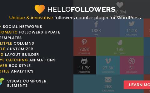 Hello Followers v2.1  -  WordPress的社交计数器插件
