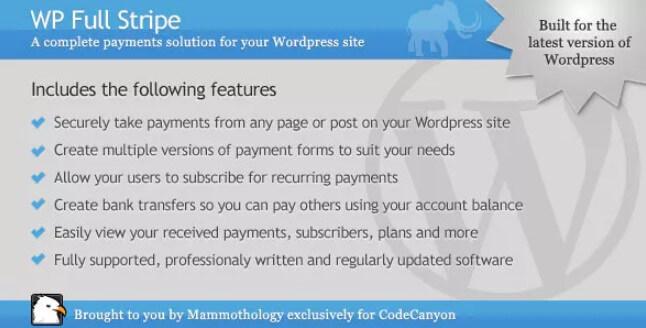 WP Full Stripe  -  WordPress的订阅和付款插件