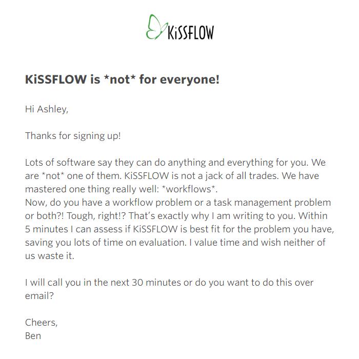KissFlow欢迎电子邮件