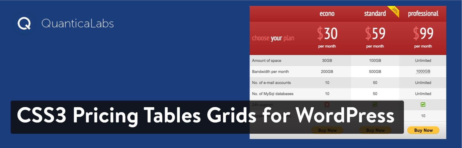 CSS3响应WordPress比较定价表
