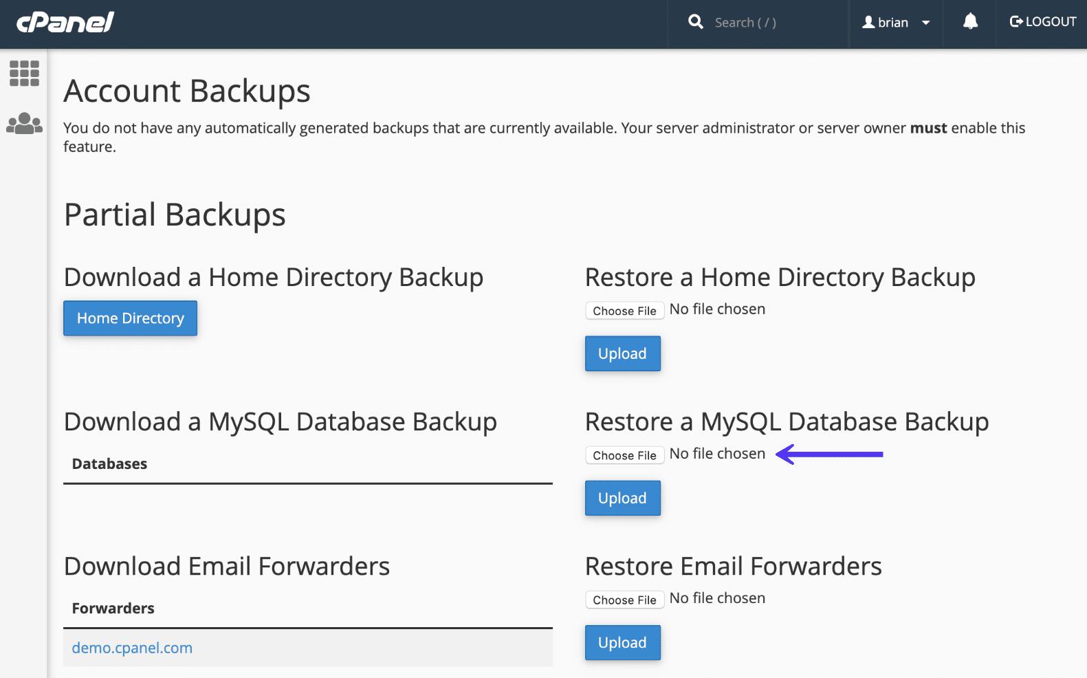 cPanel恢复MySQL数据库备份