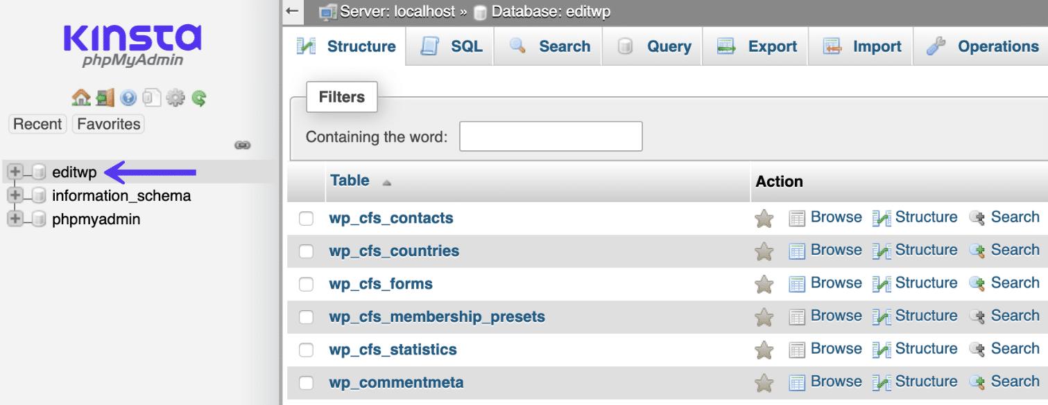 phpMyAdmin WordPress数据库