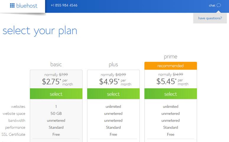 选择餐厅网站的bluehost计划