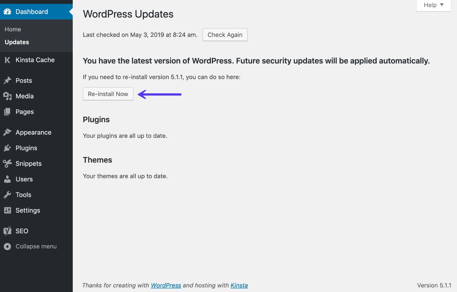 WordPress仪表板现在重新安装选项