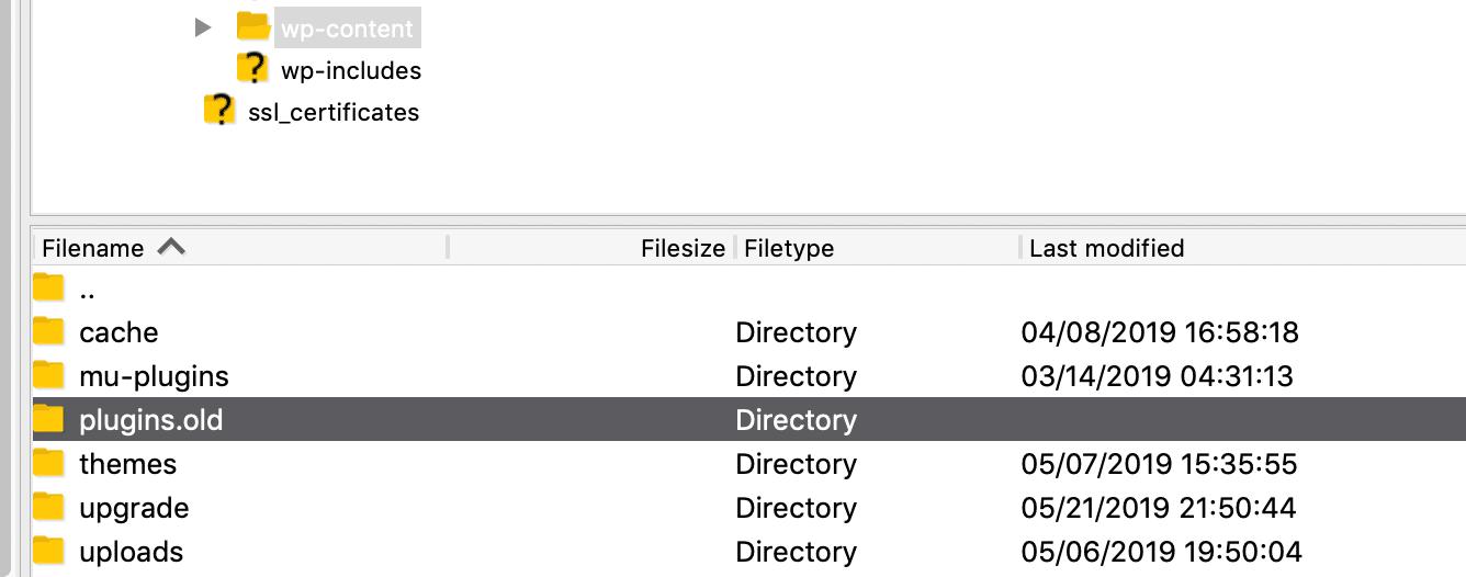 WordPress插件文件夹已重命名