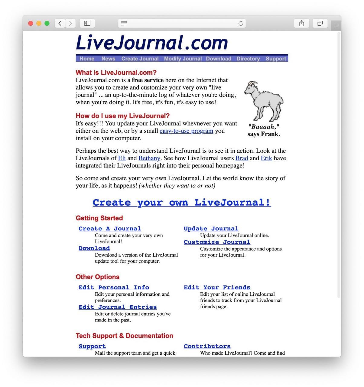 LiveJournal是历史上最早的博客平台之一