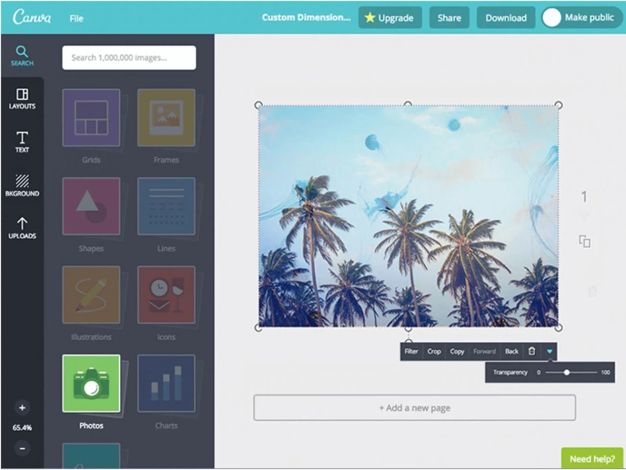 在Canva的设计编辑器中添加透明度。