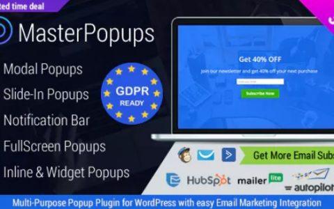 Master Popups v2.8.6  - 用於電子郵件訂閱的WordPress彈出插件
