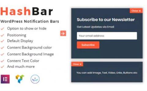 HashBar Pro v1.0.17  - 一个WordPress通知栏插件