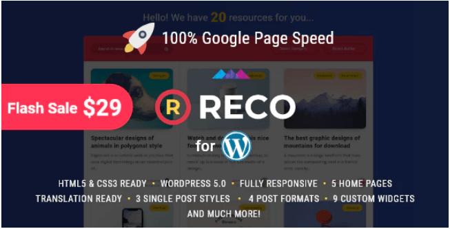 Reco v3.1.3  - 免费赠品的最小WordPress主题