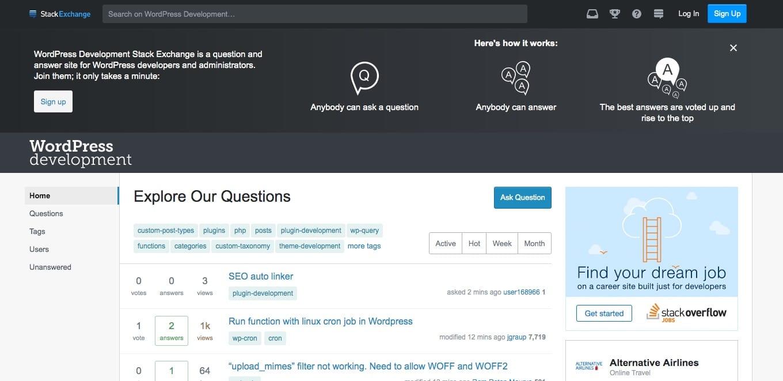 堆栈交换上的WordPress