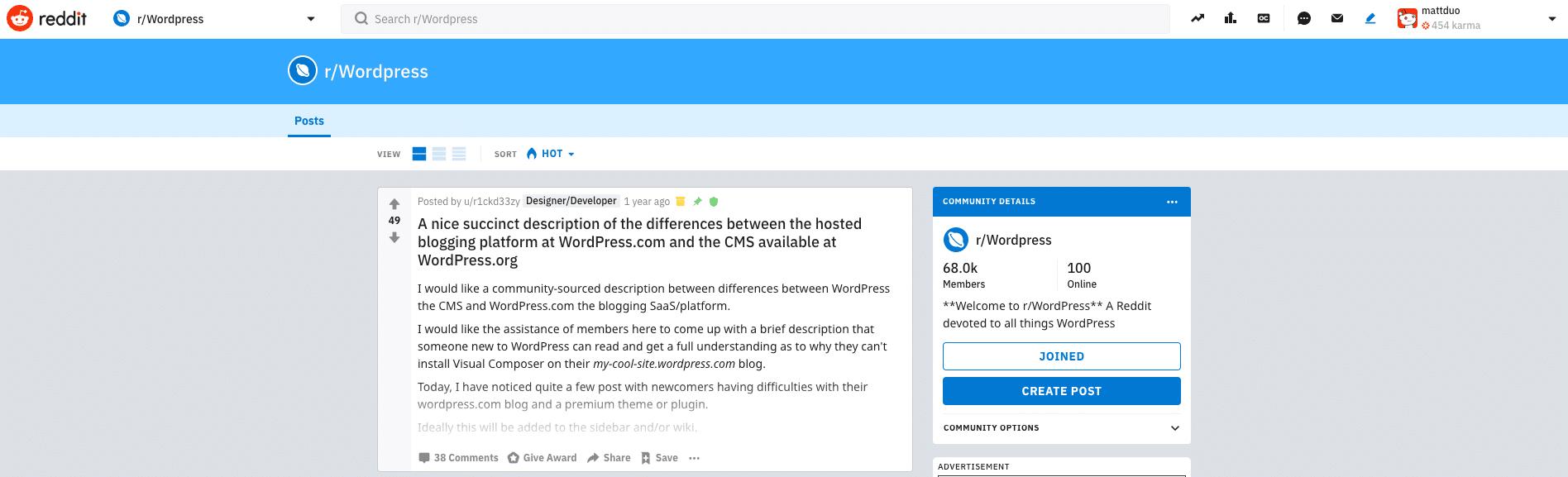 Reddit上的WordPress