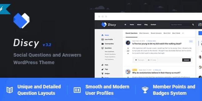 Discy  - 社交问题和答案WordPress主题