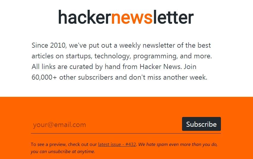 hackernews时事通讯订阅页面