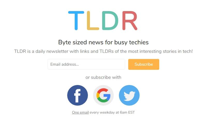 TLDR是最好的免费科技新闻通讯之一
