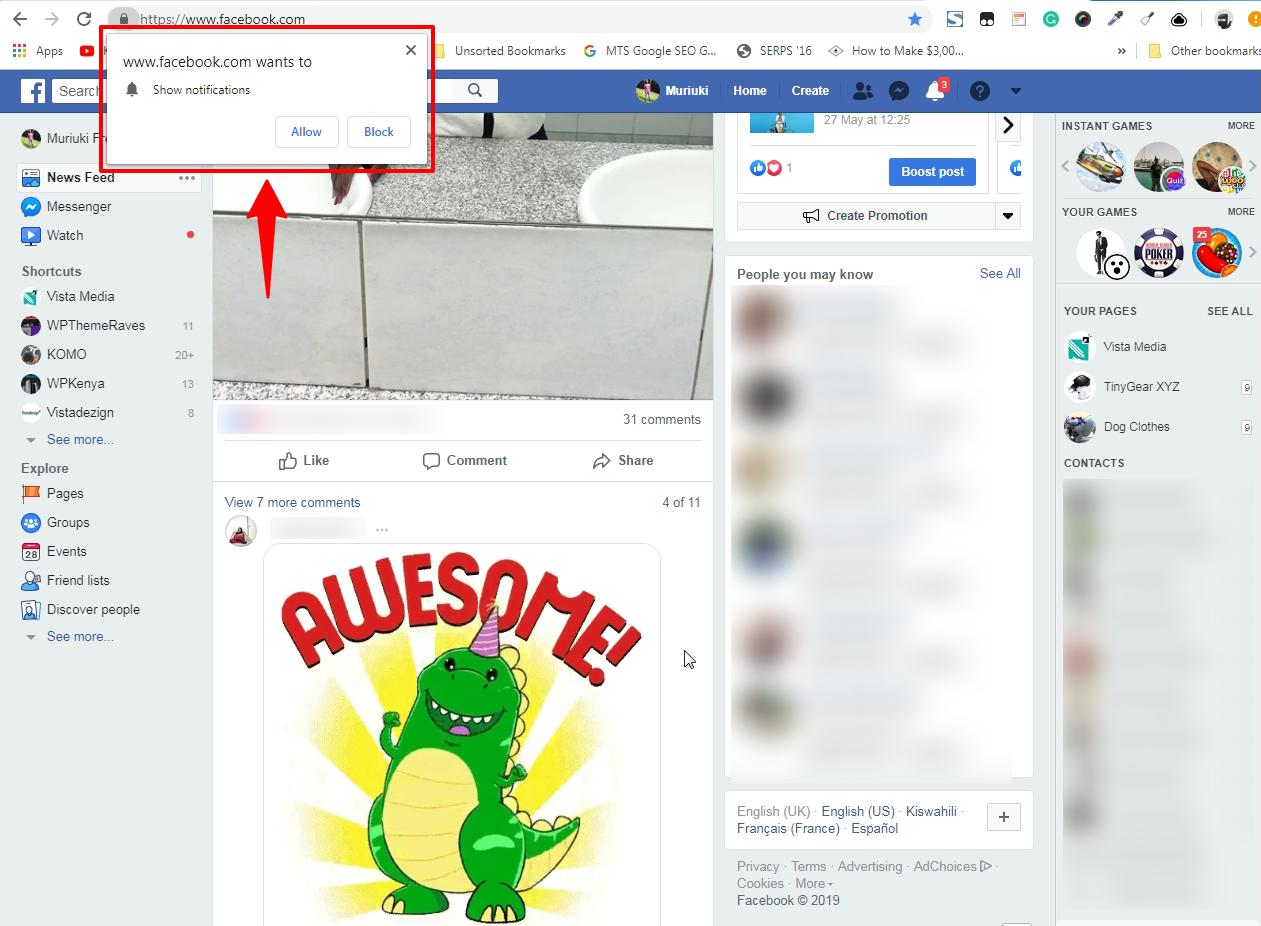 推送通知facebook的例子
