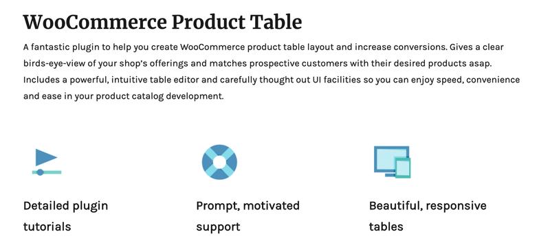 WooCommerce产品表插件主页。