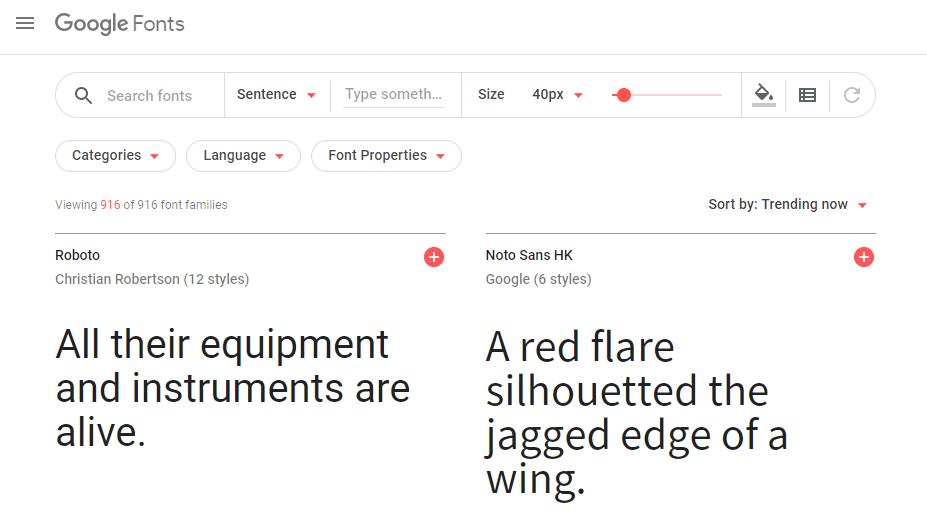 Google字体主页。