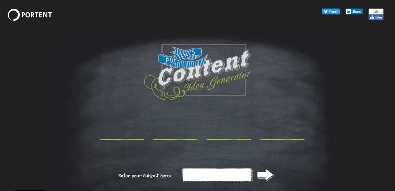 最佳标题分析工具:Portent Content Idea Generator