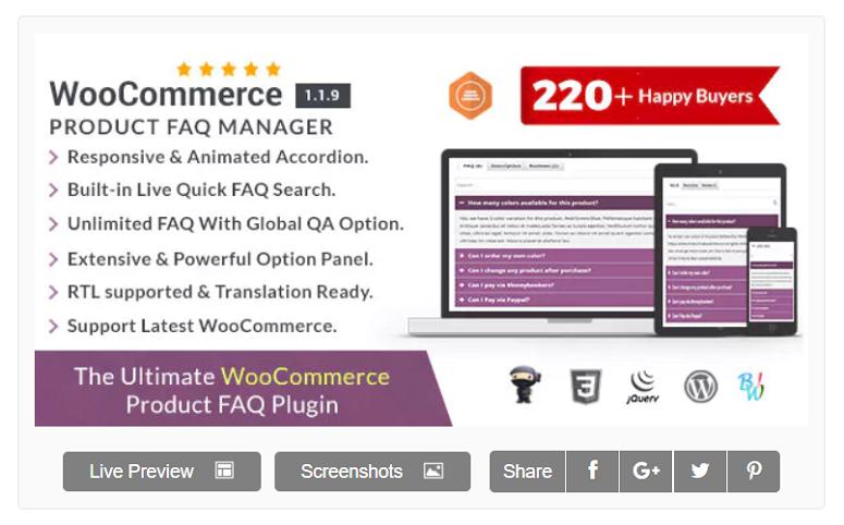 WooCommerce FAQ Manager,FAQ插件