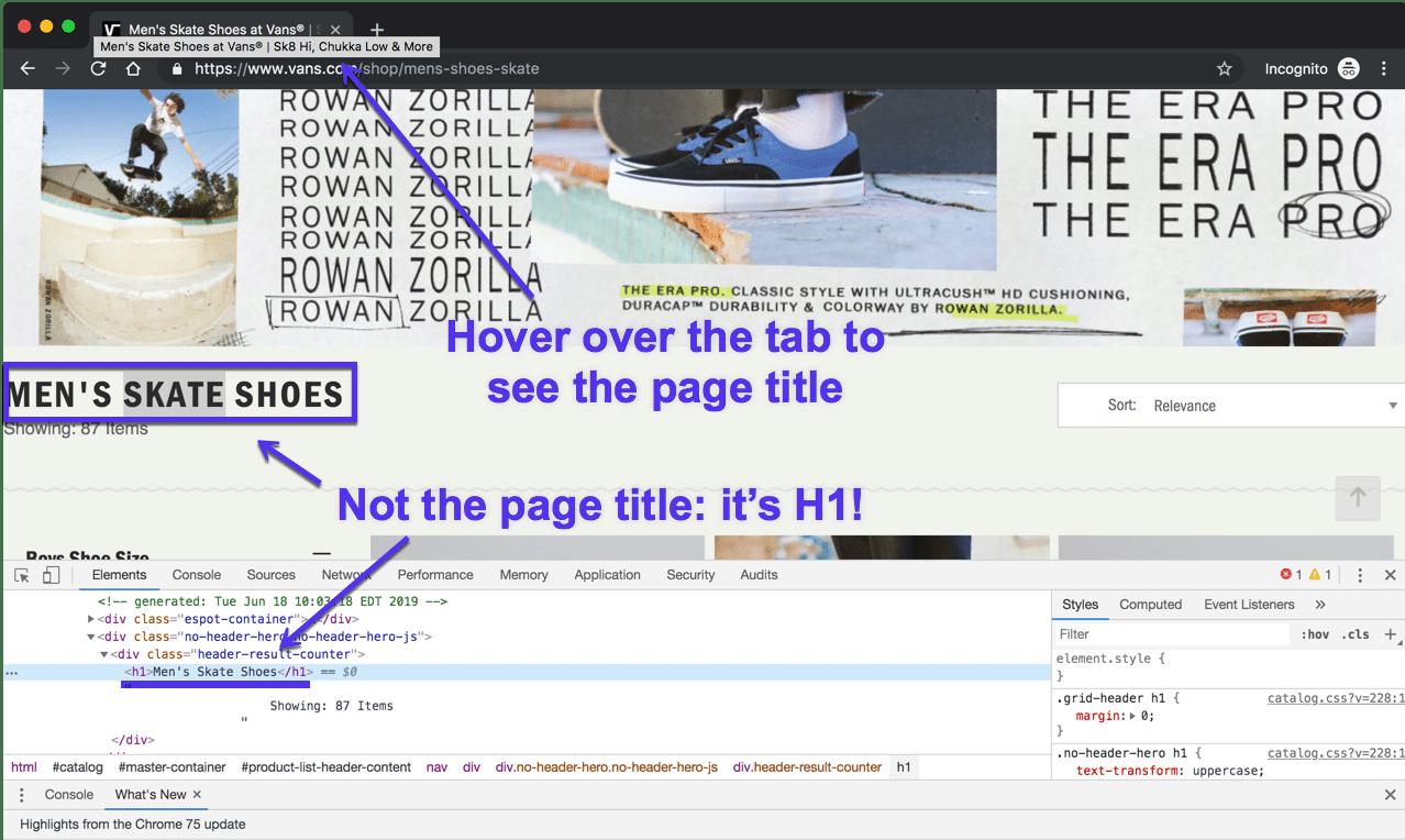 Chrome中的页面标题与H1