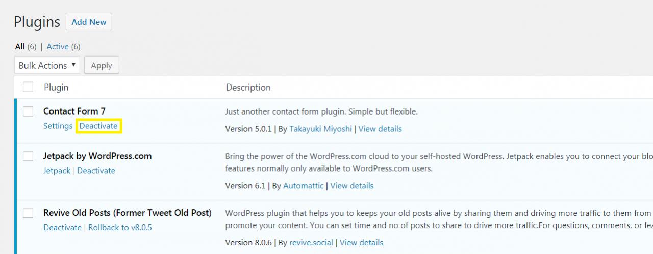 WordPress仪表板中的插件列表。