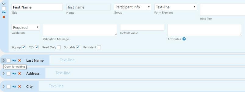 Particpants Database插件中包含的一些字段。