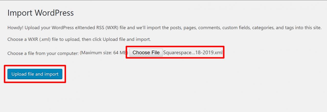 为WordPress选择Squarespace导出文件