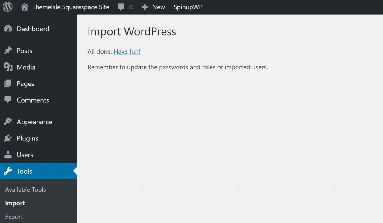 WordPress从Squarespace导入