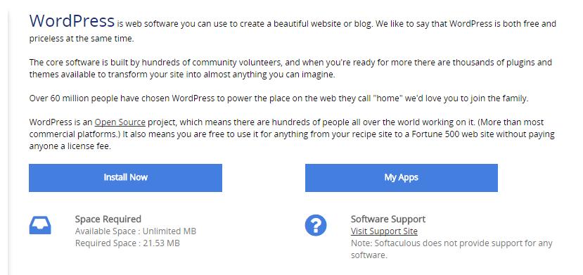 Softaculous下的WordPress安装选项。