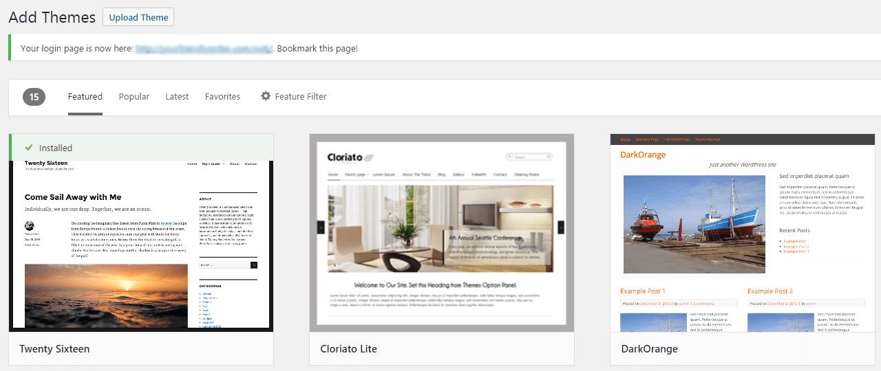 "WordPress仪表板上的""添加新主题""部分。"