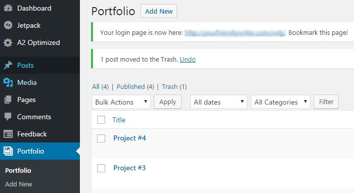 WordPress仪表板上的Portfolio自定义帖子类型。