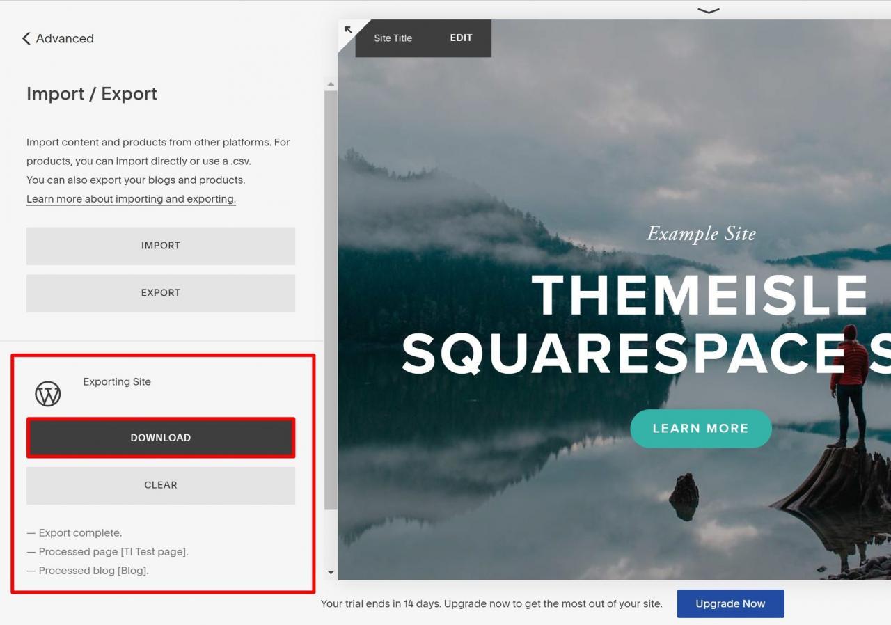 从Squarespace下载导出文件