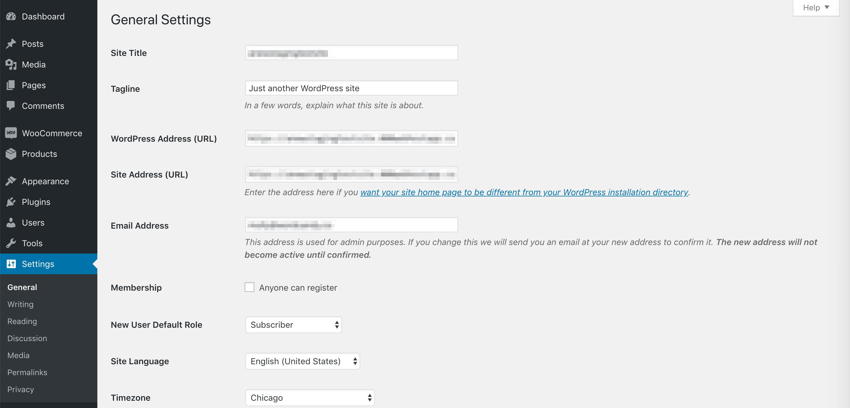 WordPress常规设置页面。