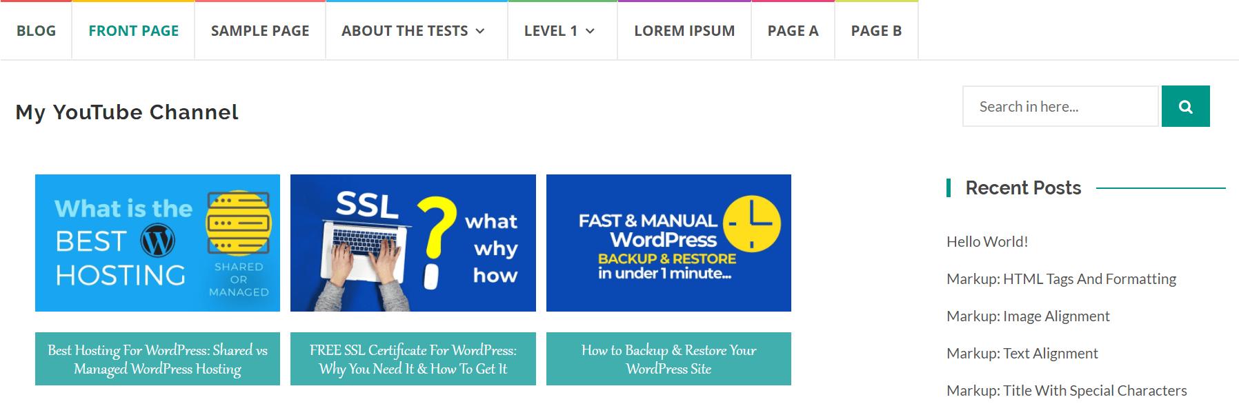 WordPress页面上显示的YouTube图库。