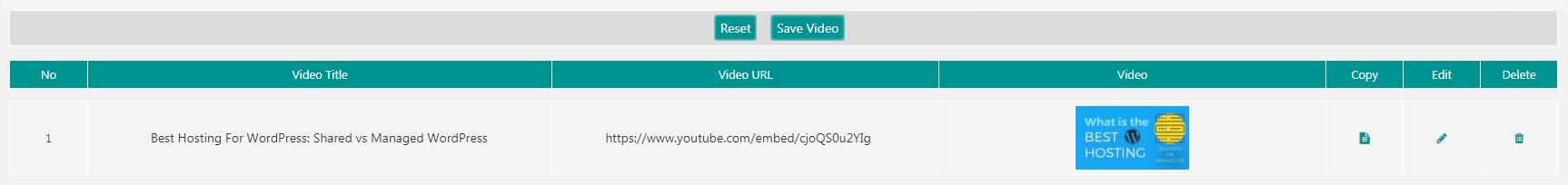 您的YouTube图库的视频列表。