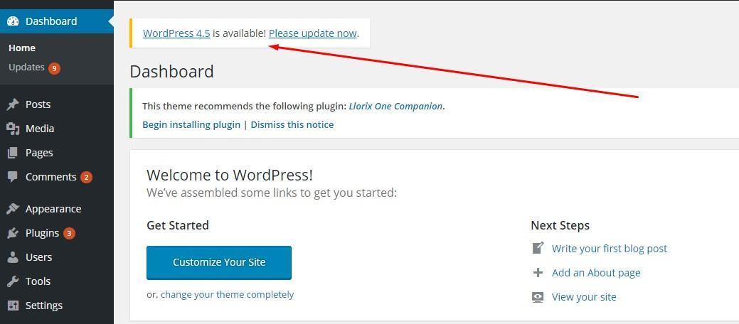 更新wordpress 1