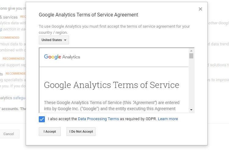 接受谷歌分析服务条款