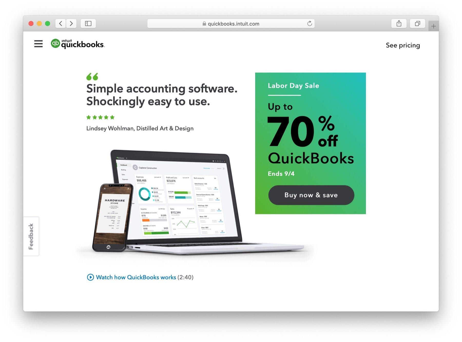 quickbooks  - 适用于小型企业的最佳会计软件