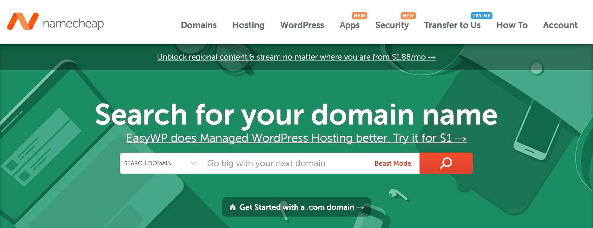 Namecheap是注册域名的最佳服务之一