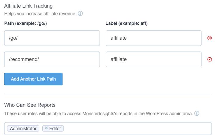 MonsterInsights-会员链接跟踪