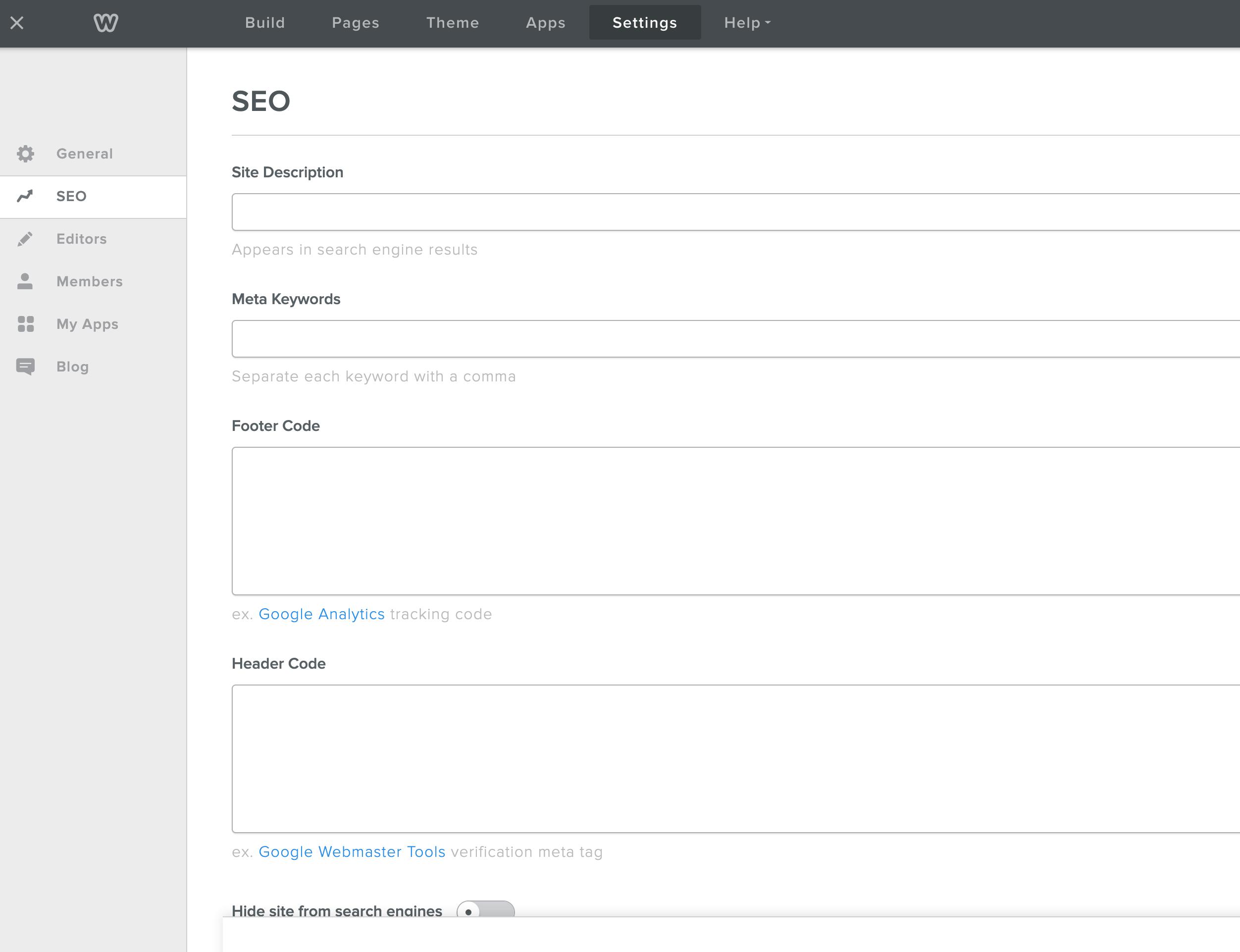 Weebly网站设置SEO选项