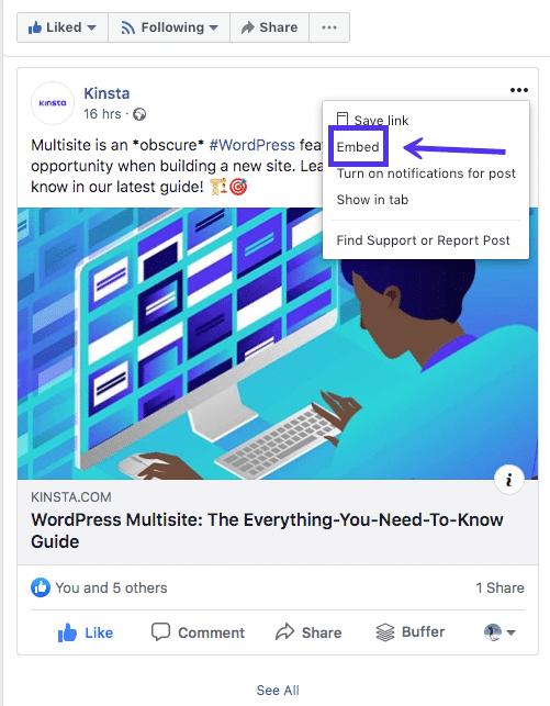 选择Facebook的嵌入功能