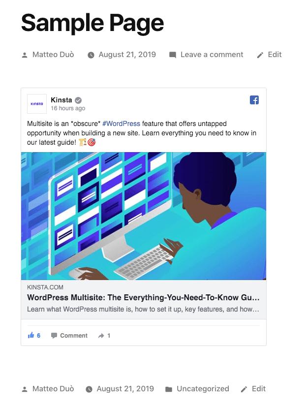 Facebook的iframe嵌入在WordPress上