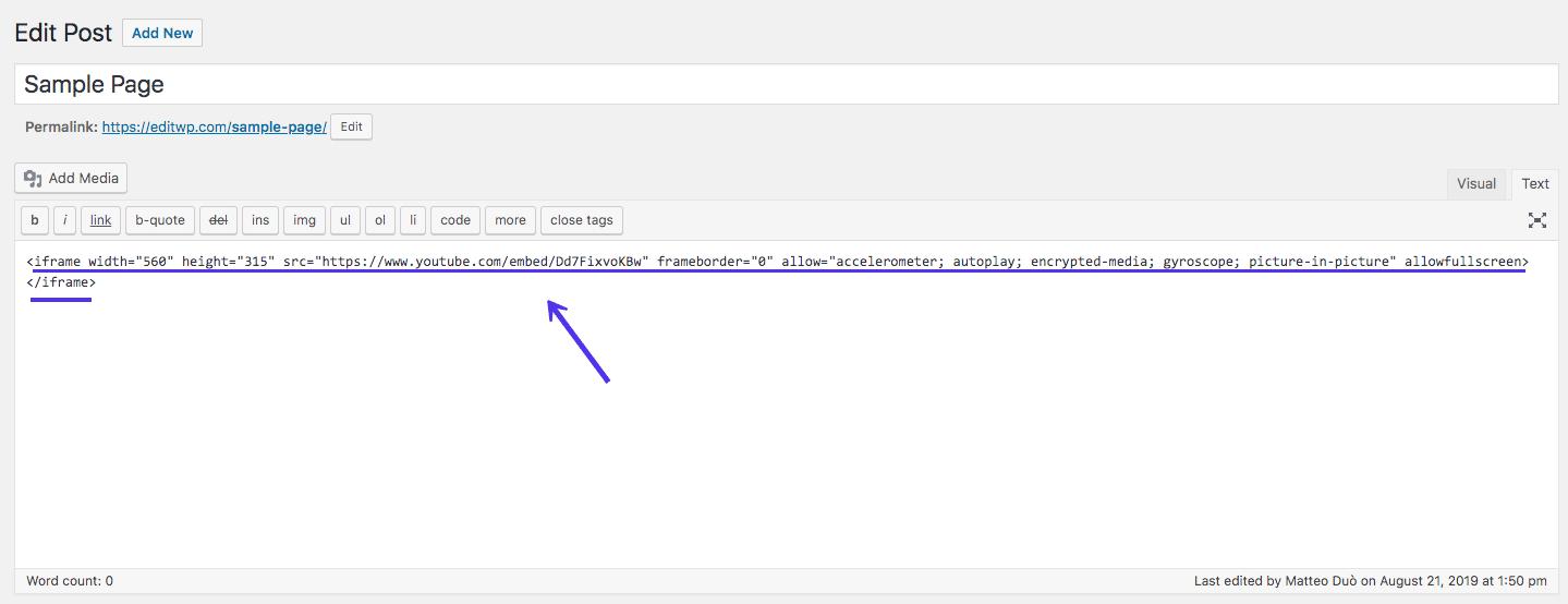 经典编辑器中的WordPress iframe