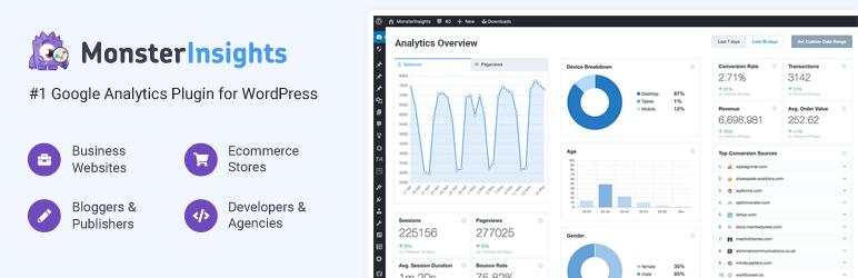 适用于WordPress的Google Analytics(分析)仪表板插件,由MonsterInsights提供