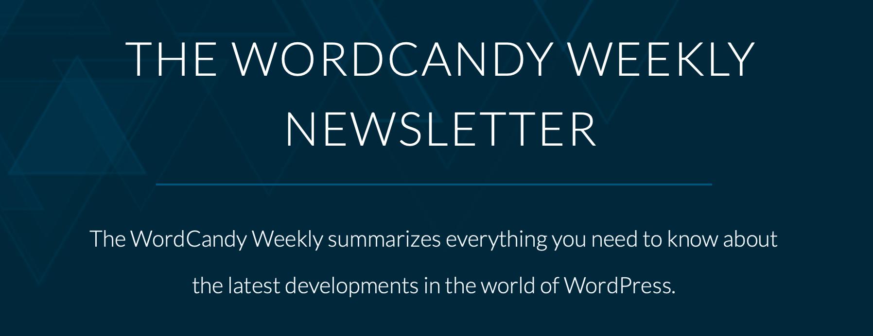 WordCandy每周WordPress新闻简报横幅。
