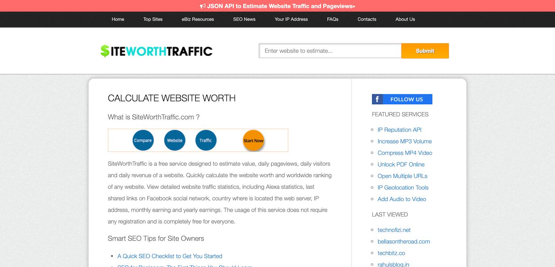 SiteWorthTraffic网站价值计算器